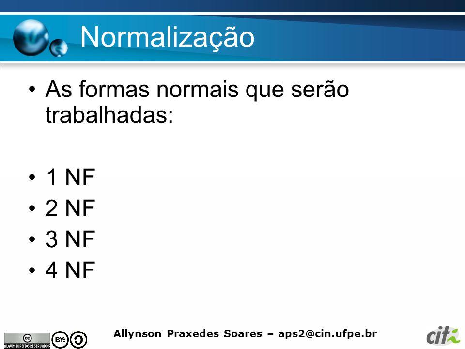 Allynson Praxedes Soares – aps2@cin.ufpe.br Normalização Terceira forma normal Uma relação está na Terceira Forma Normal (3NF) se ela está na 2NF e nenhum atributo não-chave é transitivamente dependente da chave primária.