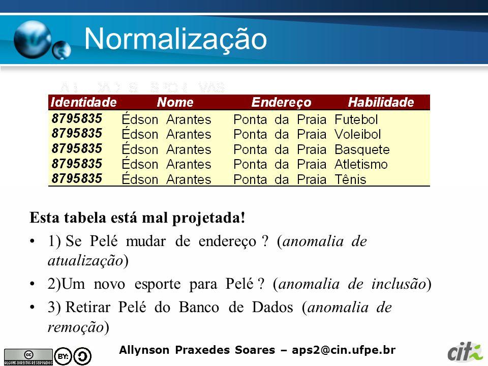 Allynson Praxedes Soares – aps2@cin.ufpe.br Normalização A relação Funcionario não está na 3FN pois possui dependência transitiva com relação à PK.