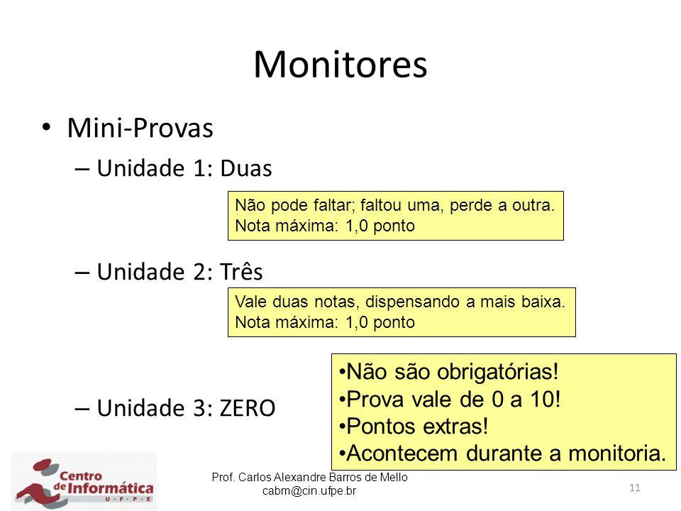 Prof. Carlos Alexandre Barros de Mello cabm@cin.ufpe.br 11 Monitores Mini-Provas – Unidade 1: Duas – Unidade 2: Três – Unidade 3: ZERO Não pode faltar