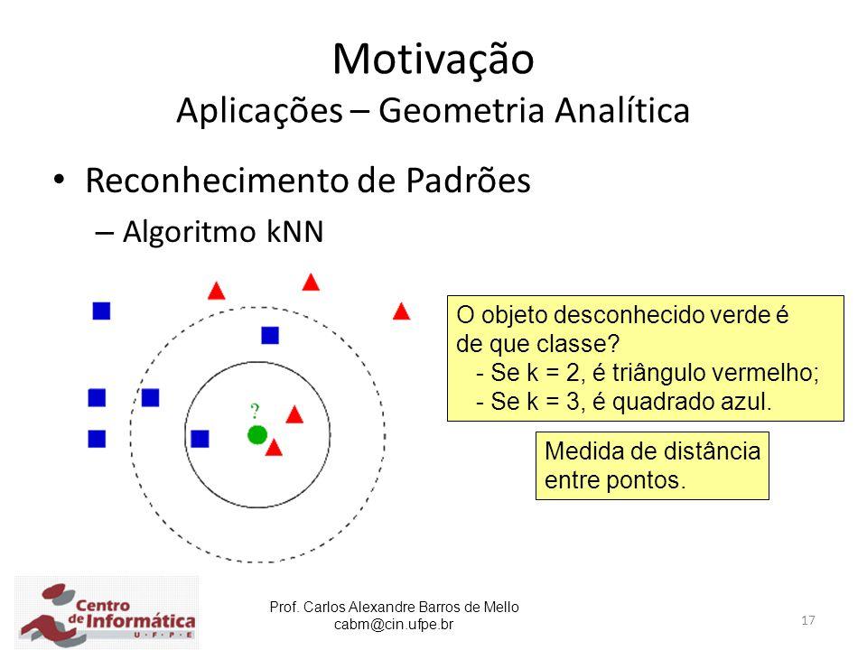 Prof. Carlos Alexandre Barros de Mello cabm@cin.ufpe.br 17 Motivação Aplicações – Geometria Analítica Reconhecimento de Padrões – Algoritmo kNN O obje