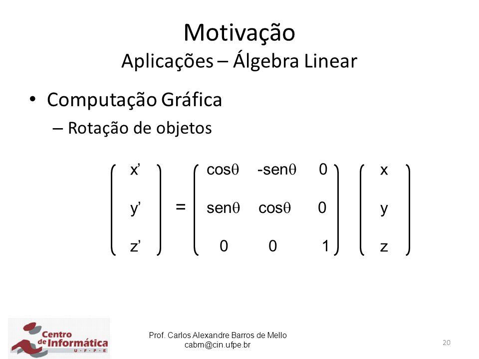 Prof. Carlos Alexandre Barros de Mello cabm@cin.ufpe.br 20 Motivação Aplicações – Álgebra Linear Computação Gráfica – Rotação de objetos = x' y' z' xy