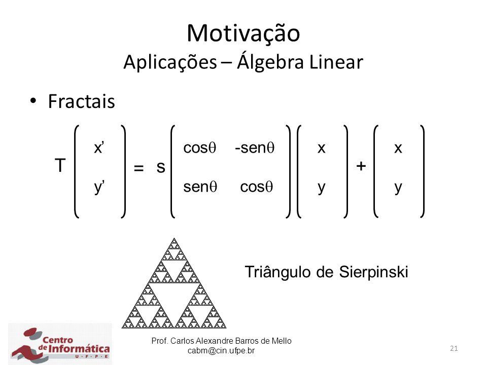 Prof. Carlos Alexandre Barros de Mello cabm@cin.ufpe.br 21 Motivação Aplicações – Álgebra Linear Fractais = x' y' xyxy cos  -sen  sen  cos  T s xy