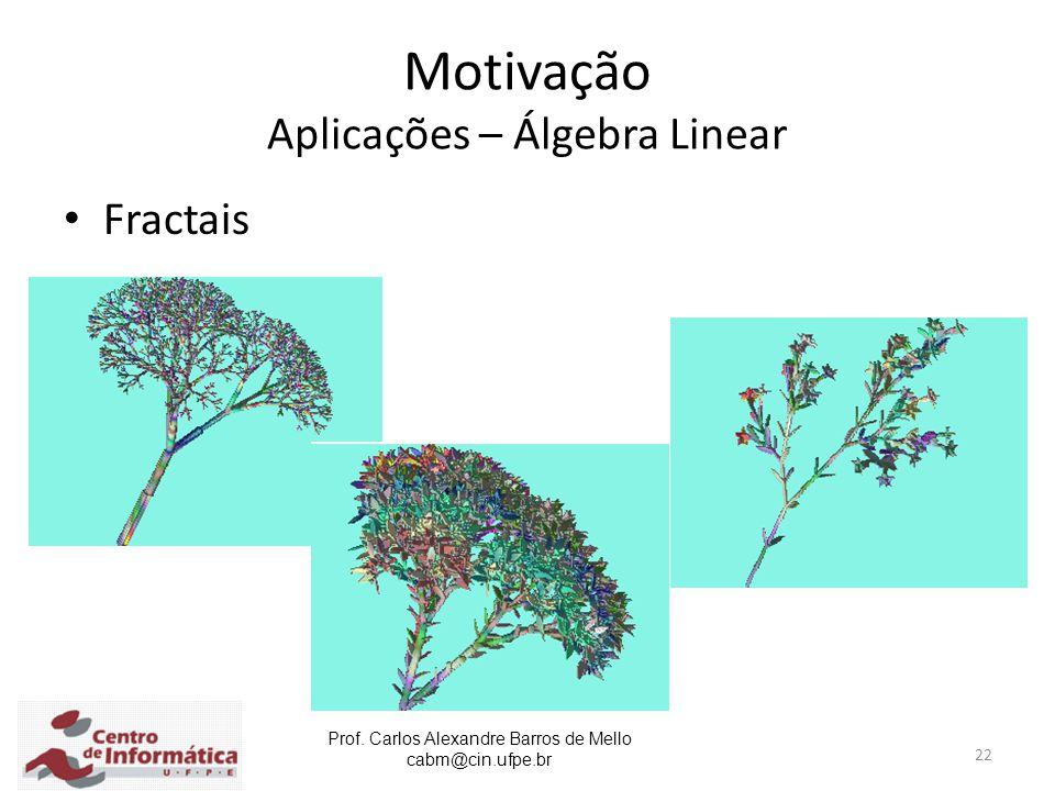 Prof. Carlos Alexandre Barros de Mello cabm@cin.ufpe.br 22 Motivação Aplicações – Álgebra Linear Fractais