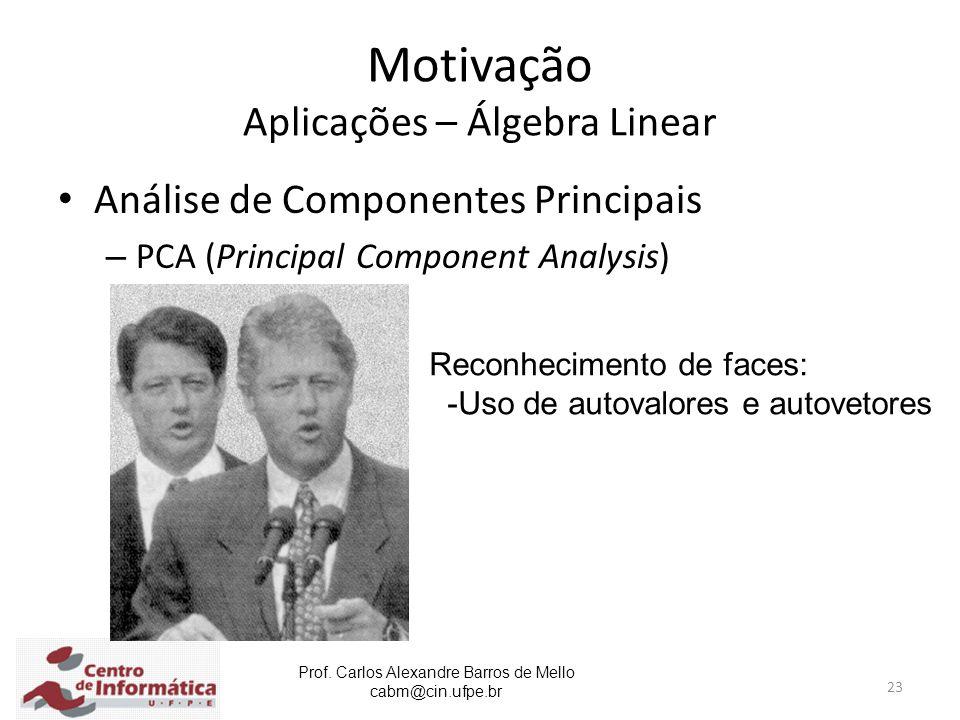 Prof. Carlos Alexandre Barros de Mello cabm@cin.ufpe.br 23 Motivação Aplicações – Álgebra Linear Análise de Componentes Principais – PCA (Principal Co