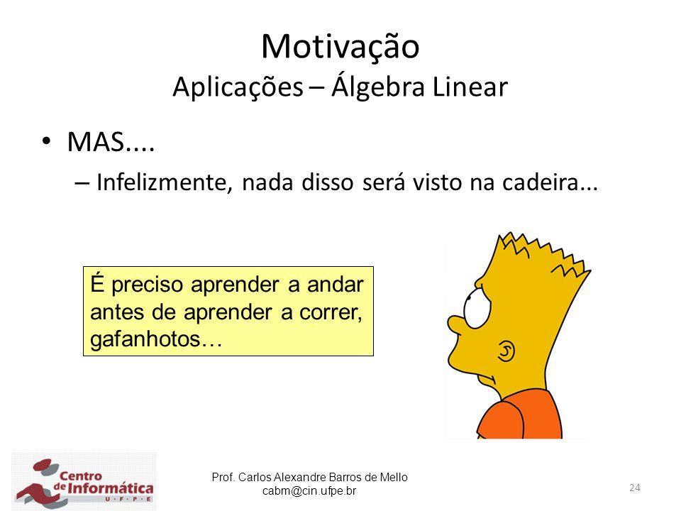 Prof. Carlos Alexandre Barros de Mello cabm@cin.ufpe.br 24 Motivação Aplicações – Álgebra Linear MAS.... – Infelizmente, nada disso será visto na cade
