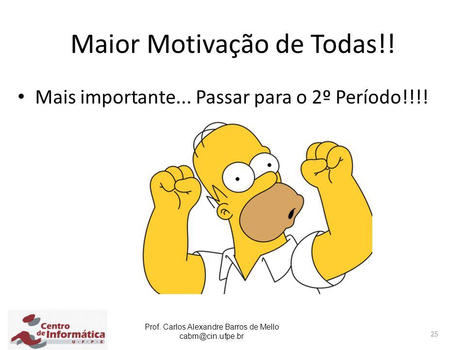 Prof. Carlos Alexandre Barros de Mello cabm@cin.ufpe.br 25 Maior Motivação de Todas!! Mais importante... Passar para o 2º Período!!!!