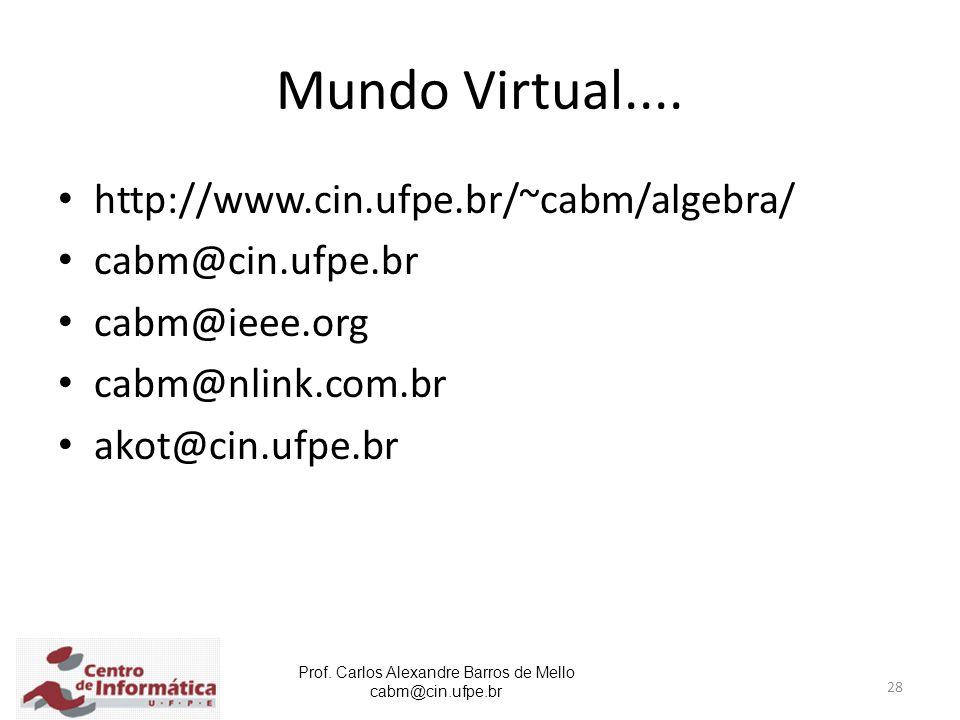 Prof. Carlos Alexandre Barros de Mello cabm@cin.ufpe.br 28 Mundo Virtual.... http://www.cin.ufpe.br/~cabm/algebra/ cabm@cin.ufpe.br cabm@ieee.org cabm