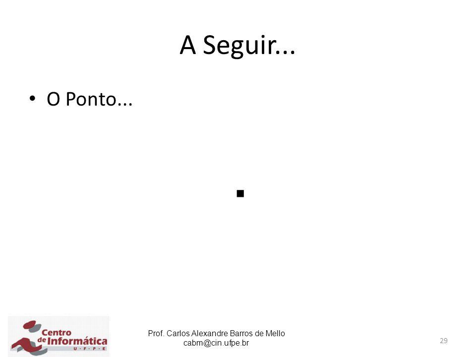 Prof. Carlos Alexandre Barros de Mello cabm@cin.ufpe.br 29 A Seguir... O Ponto....