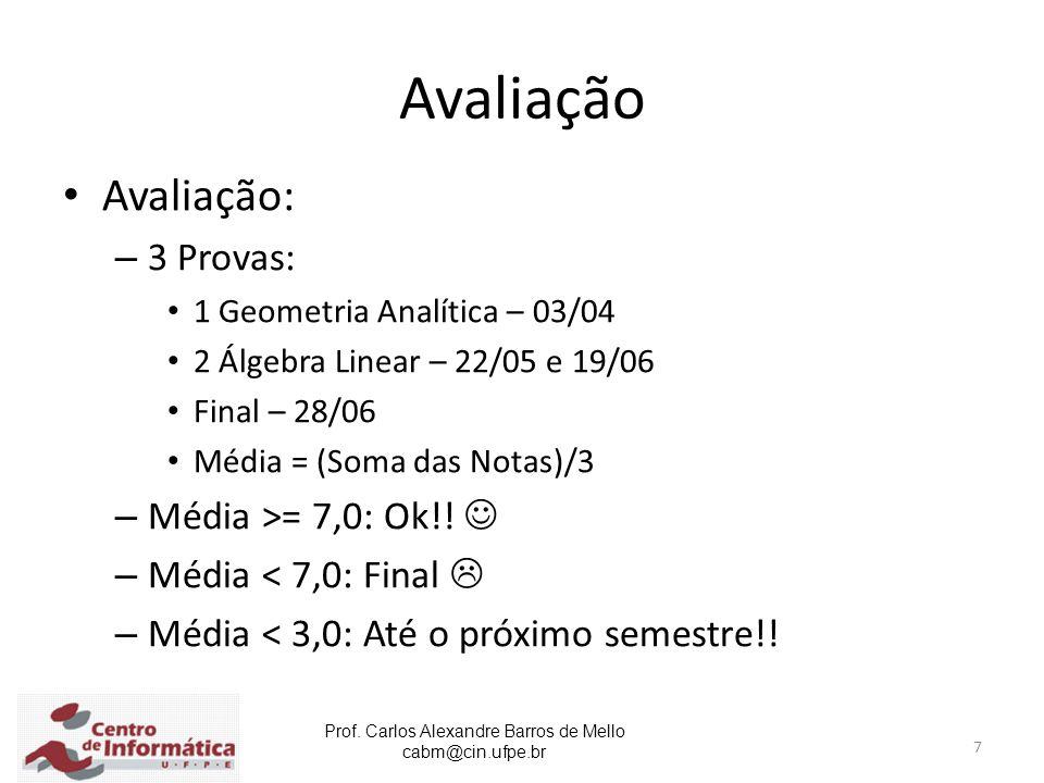 Prof. Carlos Alexandre Barros de Mello cabm@cin.ufpe.br 7 Avaliação Avaliação: – 3 Provas: 1 Geometria Analítica – 03/04 2 Álgebra Linear – 22/05 e 19