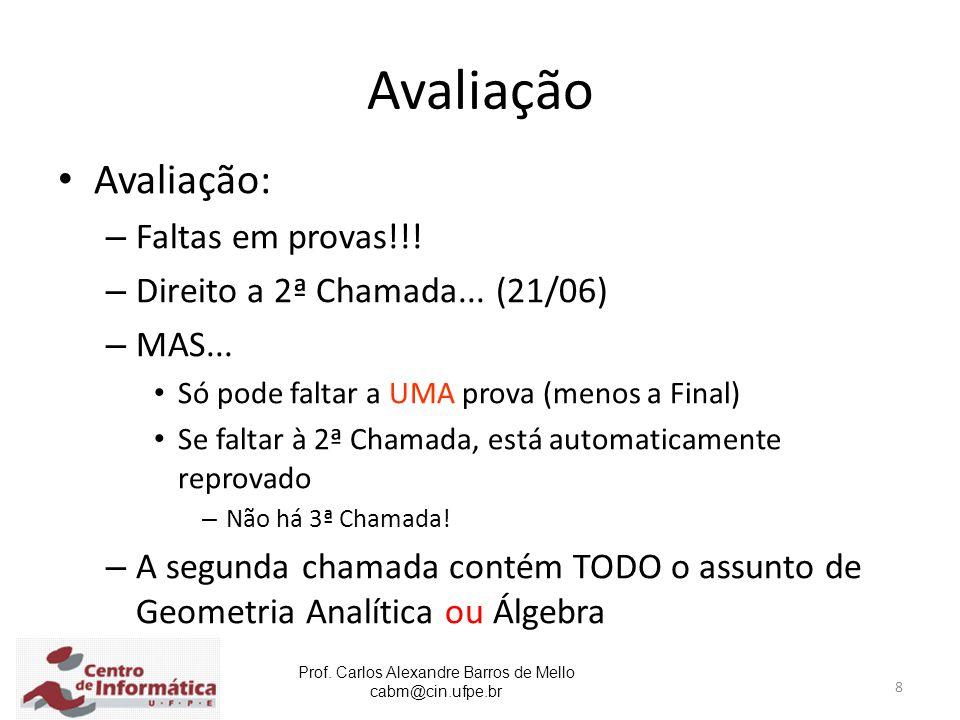 Prof. Carlos Alexandre Barros de Mello cabm@cin.ufpe.br 8 Avaliação Avaliação: – Faltas em provas!!! – Direito a 2ª Chamada... (21/06) – MAS... Só pod