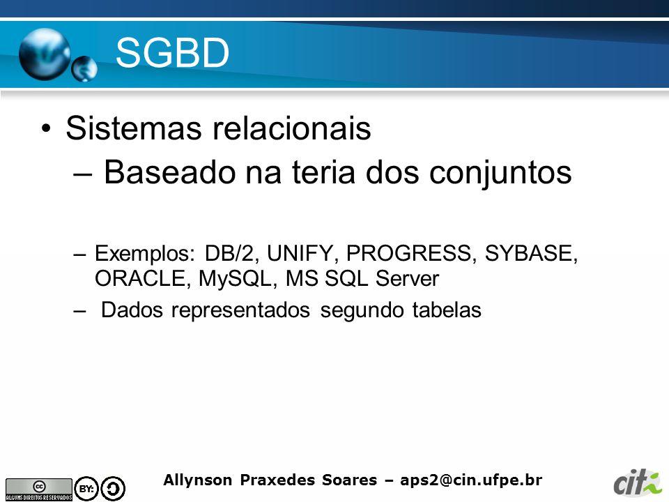 Allynson Praxedes Soares – aps2@cin.ufpe.br SGBD Sistemas relacionais – Baseado na teria dos conjuntos –Exemplos: DB/2, UNIFY, PROGRESS, SYBASE, ORACL