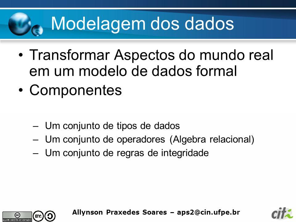 Allynson Praxedes Soares – aps2@cin.ufpe.br Modelagem dos dados Transformar Aspectos do mundo real em um modelo de dados formal Componentes – Um conju