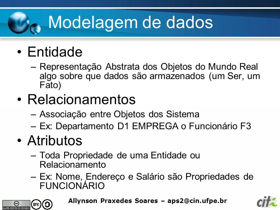 Allynson Praxedes Soares – aps2@cin.ufpe.br Modelagem de dados Entidade –Representação Abstrata dos Objetos do Mundo Real algo sobre que dados são arm