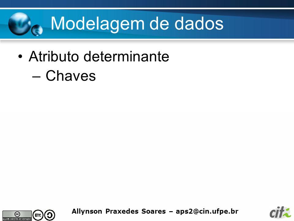 Allynson Praxedes Soares – aps2@cin.ufpe.br Modelagem de dados Atributo determinante – Chaves