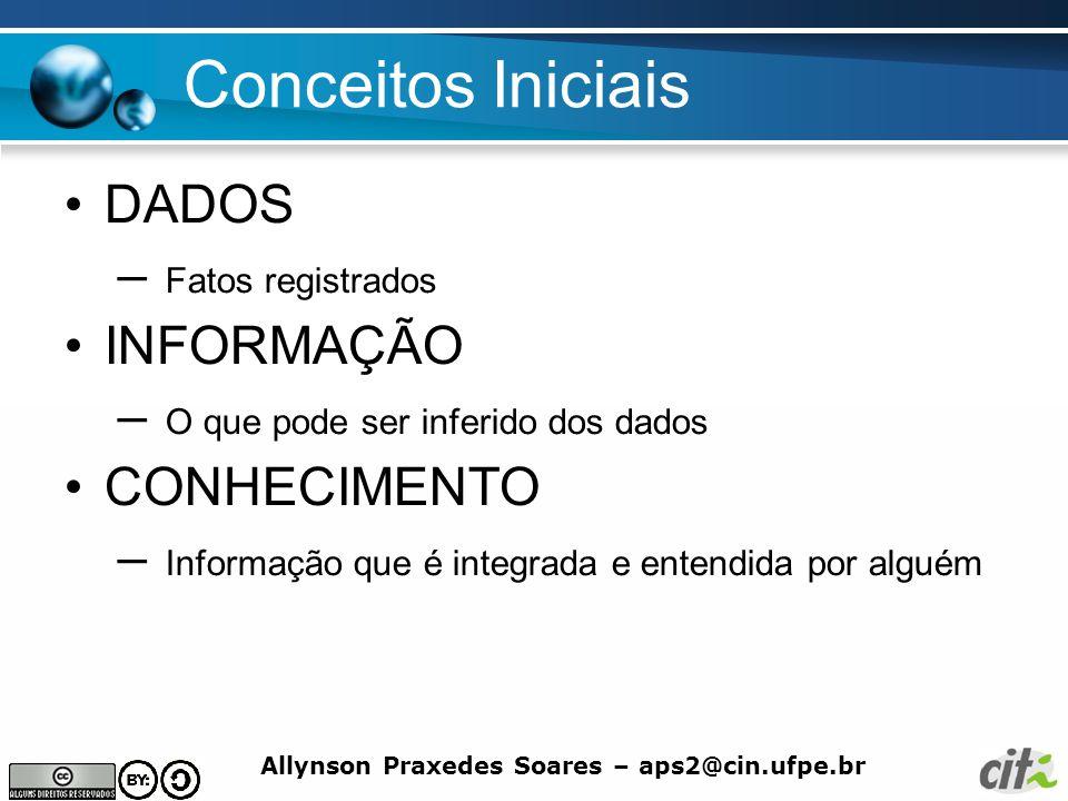 Allynson Praxedes Soares – aps2@cin.ufpe.br Conceitos Iniciais DADOS – Fatos registrados INFORMAÇÃO – O que pode ser inferido dos dados CONHECIMENTO –