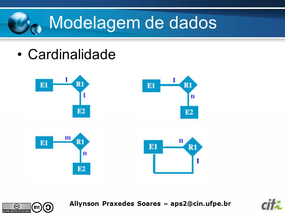Allynson Praxedes Soares – aps2@cin.ufpe.br Modelagem de dados Cardinalidade