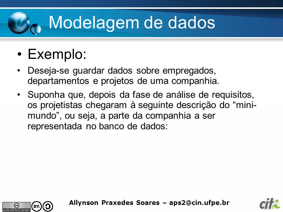 Allynson Praxedes Soares – aps2@cin.ufpe.br Modelagem de dados Exemplo: Deseja-se guardar dados sobre empregados, departamentos e projetos de uma comp