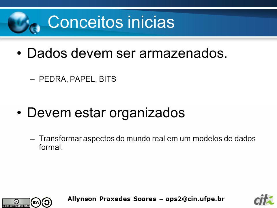 Allynson Praxedes Soares – aps2@cin.ufpe.br Conceitos inicias Dados devem ser armazenados. –PEDRA, PAPEL, BITS Devem estar organizados –Transformar as