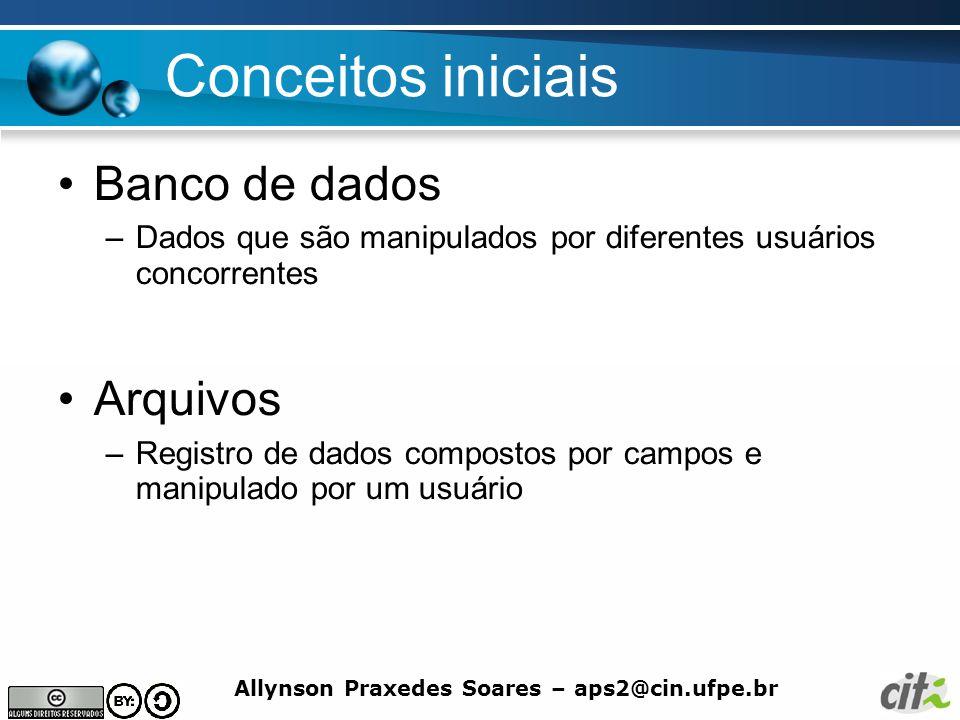 Allynson Praxedes Soares – aps2@cin.ufpe.br Conceitos iniciais Banco de dados –Dados que são manipulados por diferentes usuários concorrentes Arquivos