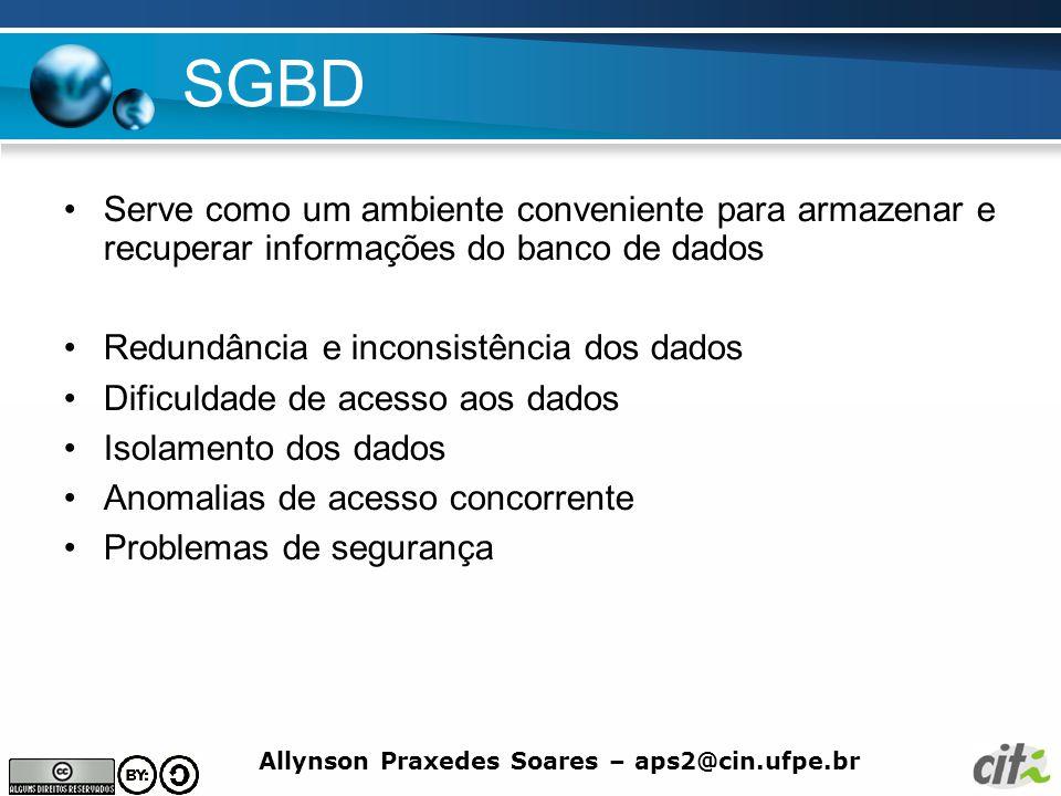 Allynson Praxedes Soares – aps2@cin.ufpe.br SGBD Serve como um ambiente conveniente para armazenar e recuperar informações do banco de dados Redundânc