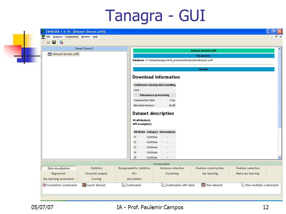05/07/07IA - Prof. Paulemir Campos12 Tanagra - GUI