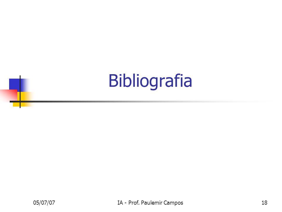 05/07/07IA - Prof. Paulemir Campos18 Bibliografia