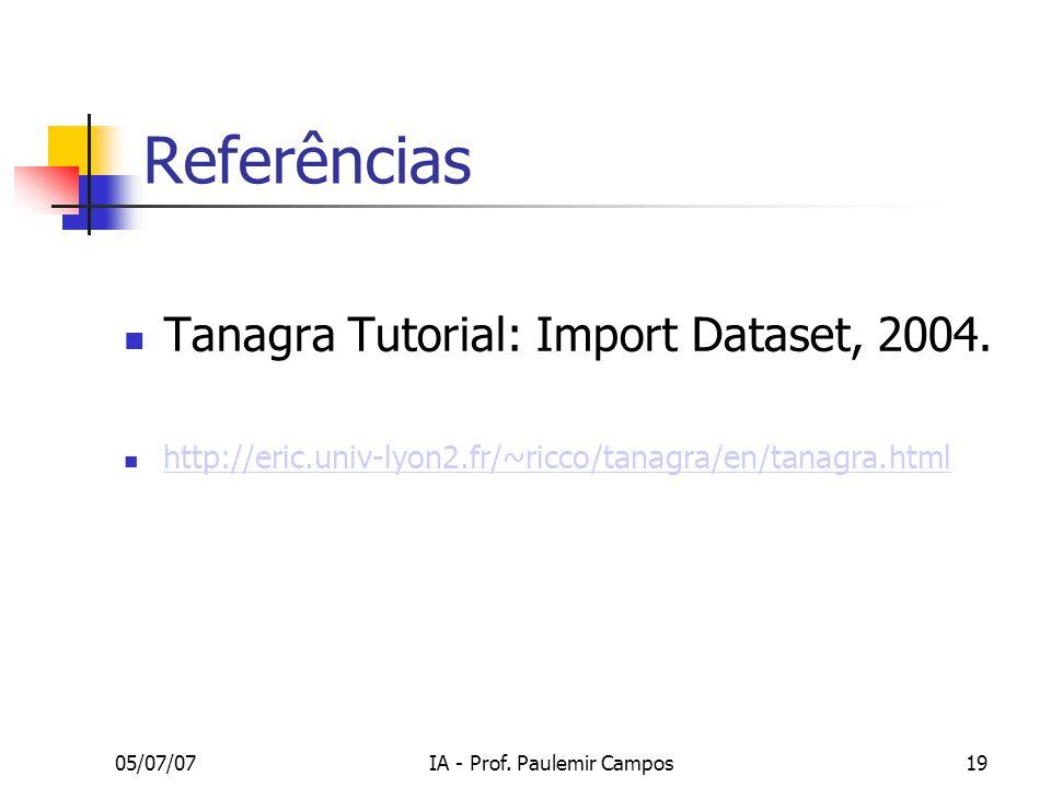 05/07/07IA - Prof.Paulemir Campos19 Referências Tanagra Tutorial: Import Dataset, 2004.