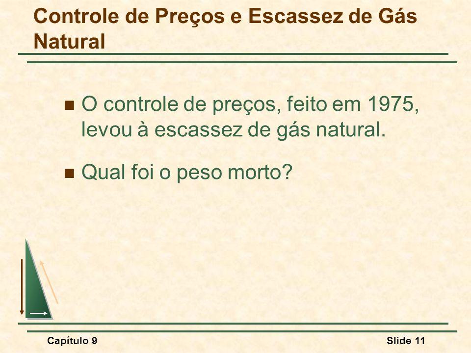 Capítulo 9Slide 11 Controle de Preços e Escassez de Gás Natural O controle de preços, feito em 1975, levou à escassez de gás natural. Qual foi o peso