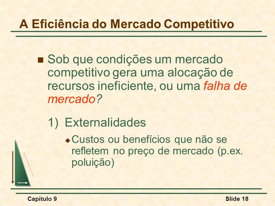Capítulo 9Slide 18 A Eficiência do Mercado Competitivo Sob que condições um mercado competitivo gera uma alocação de recursos ineficiente, ou uma falh