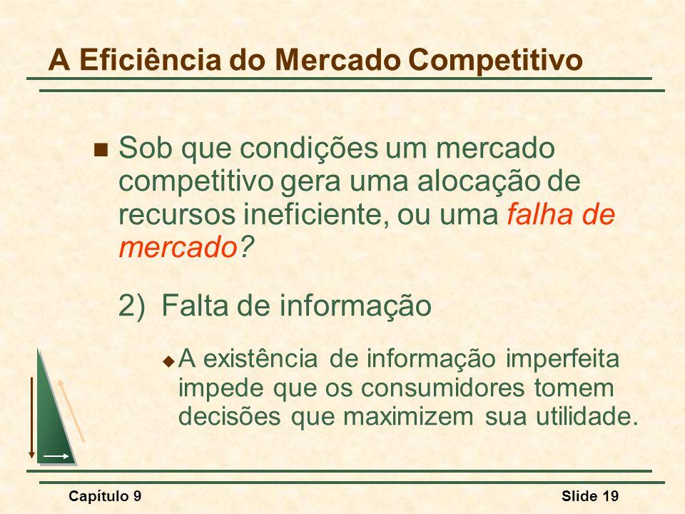 Capítulo 9Slide 19 A Eficiência do Mercado Competitivo Sob que condições um mercado competitivo gera uma alocação de recursos ineficiente, ou uma falh