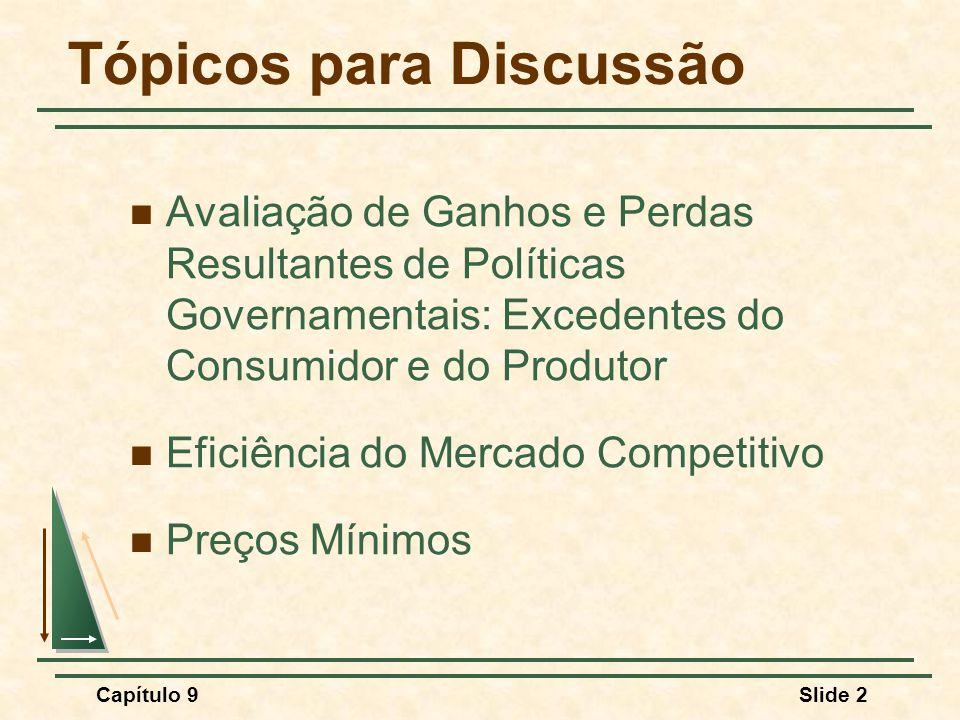 Capítulo 9Slide 3 Tópicos para Discussão Política de Preços Mínimos e Quotas de Produção Quotas e Impostos de Importação O Impacto de um Imposto ou Subsídio