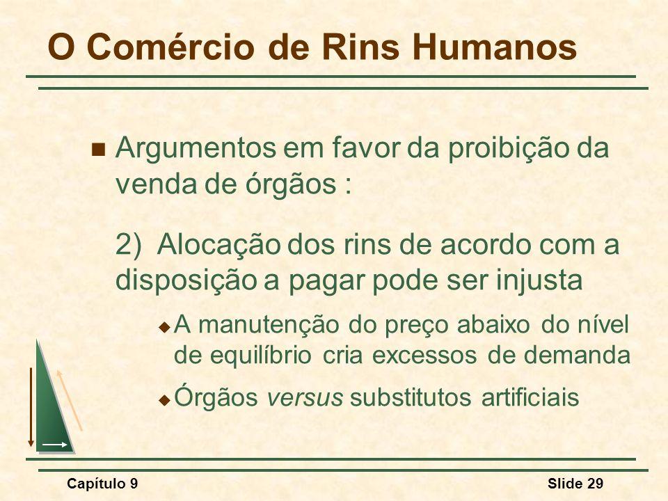 Capítulo 9Slide 29 Argumentos em favor da proibição da venda de órgãos : 2)Alocação dos rins de acordo com a disposição a pagar pode ser injusta  A m