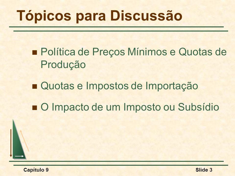 Capítulo 9Slide 3 Tópicos para Discussão Política de Preços Mínimos e Quotas de Produção Quotas e Impostos de Importação O Impacto de um Imposto ou Su