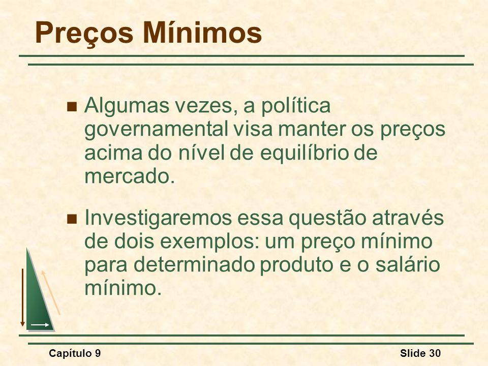 Capítulo 9Slide 30 Preços Mínimos Algumas vezes, a política governamental visa manter os preços acima do nível de equilíbrio de mercado. Investigaremo