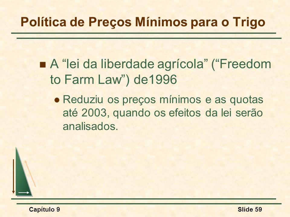 """Capítulo 9Slide 59 Política de Preços Mínimos para o Trigo A """"lei da liberdade agrícola"""" (""""Freedom to Farm Law"""") de1996 Reduziu os preços mínimos e as"""