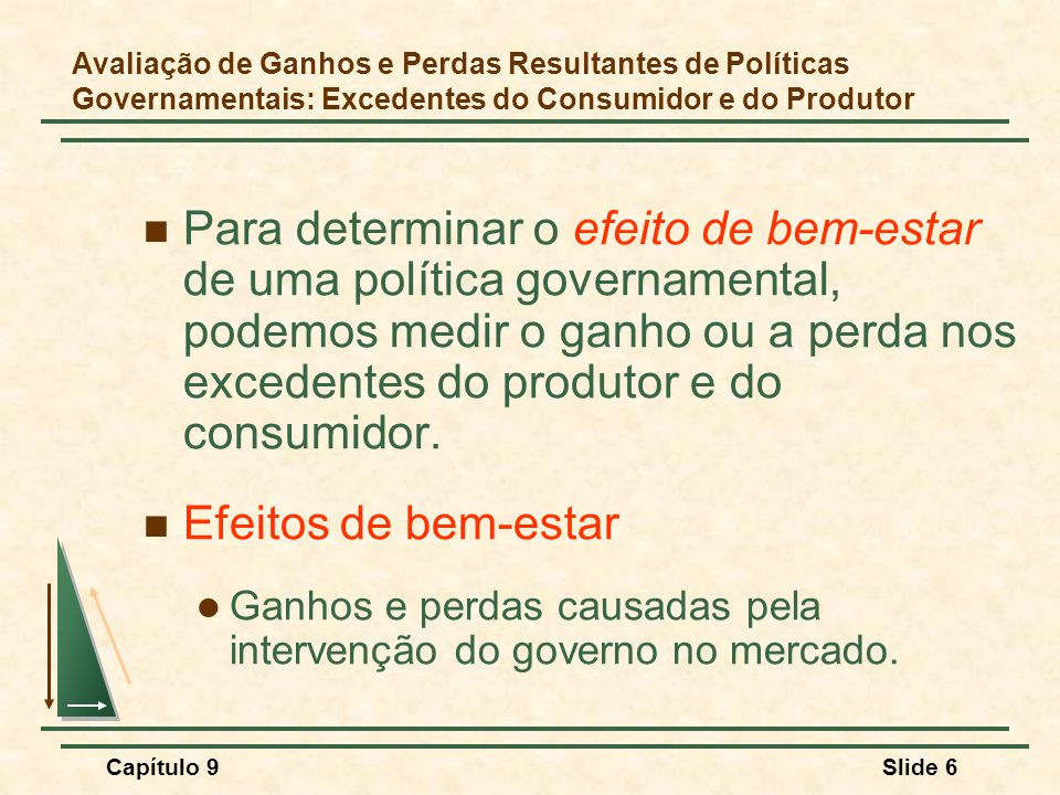 Capítulo 9Slide 6 Para determinar o efeito de bem-estar de uma política governamental, podemos medir o ganho ou a perda nos excedentes do produtor e d