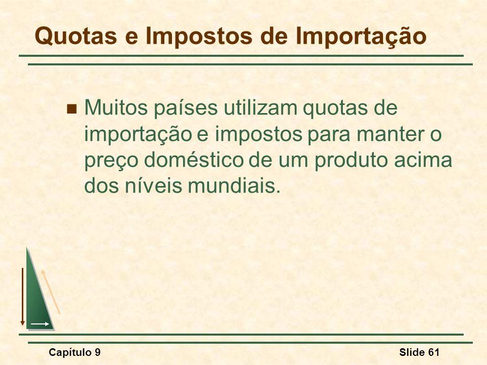 Capítulo 9Slide 61 Quotas e Impostos de Importação Muitos países utilizam quotas de importação e impostos para manter o preço doméstico de um produto