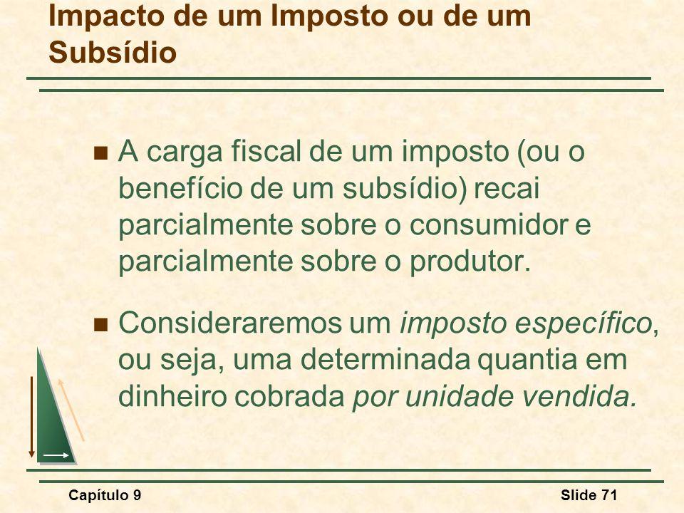 Capítulo 9Slide 71 Impacto de um Imposto ou de um Subsídio A carga fiscal de um imposto (ou o benefício de um subsídio) recai parcialmente sobre o con