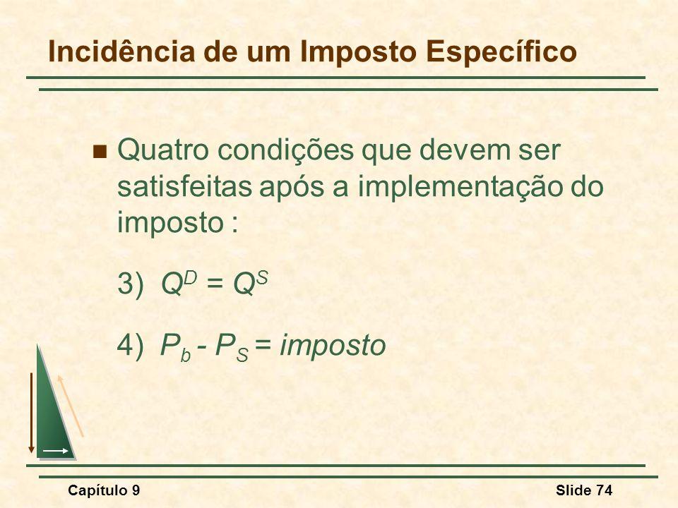 Capítulo 9Slide 74 Incidência de um Imposto Específico Quatro condições que devem ser satisfeitas após a implementação do imposto : 3)Q D = Q S 4)P b