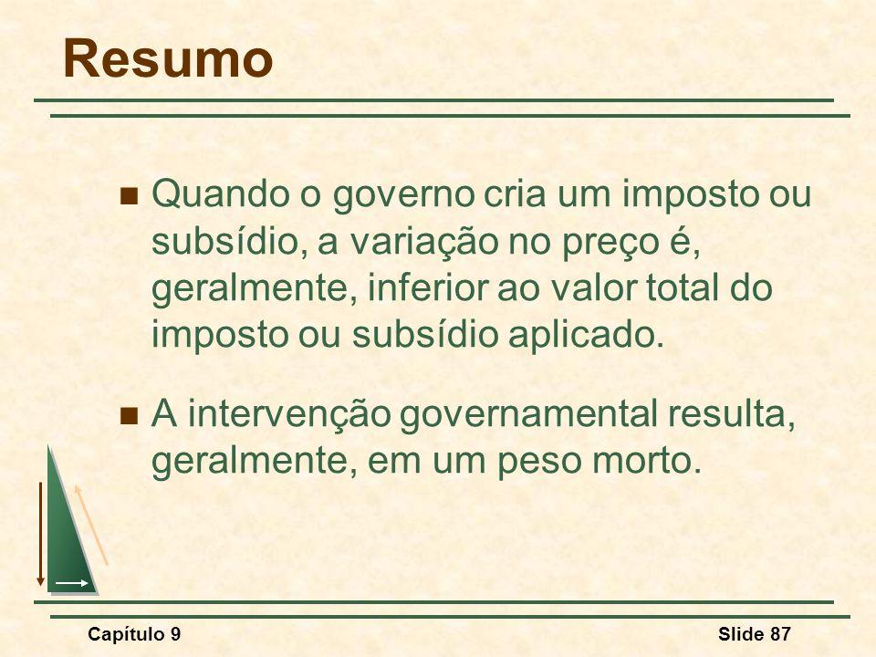 Capítulo 9Slide 87 Resumo Quando o governo cria um imposto ou subsídio, a variação no preço é, geralmente, inferior ao valor total do imposto ou subsí