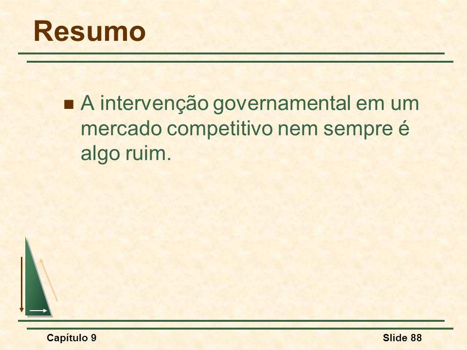 Capítulo 9Slide 88 Resumo A intervenção governamental em um mercado competitivo nem sempre é algo ruim.