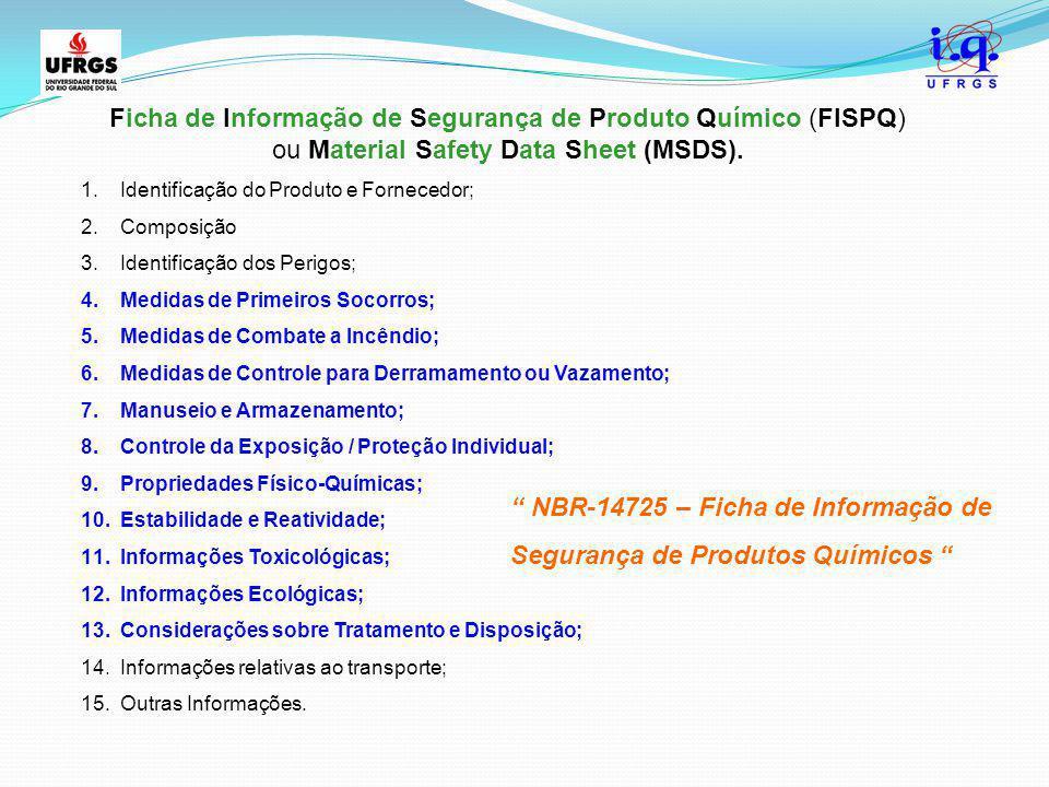 Ficha de Informação de Segurança de Produto Químico (FISPQ) ou Material Safety Data Sheet (MSDS). 1.Identificação do Produto e Fornecedor; 2.Composiçã