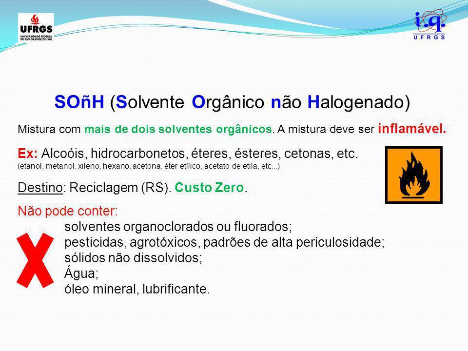SOñH (Solvente Orgânico não Halogenado) Mistura com mais de dois solventes orgânicos. A mistura deve ser inflamável. Ex: Alcoóis, hidrocarbonetos, éte