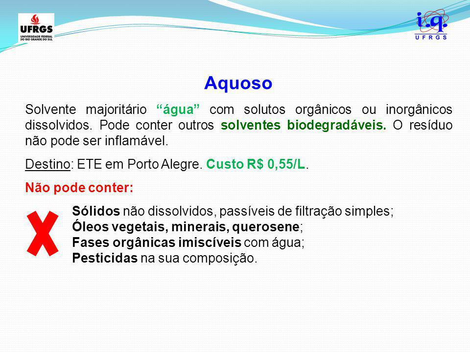 """Aquoso Solvente majoritário """"água"""" com solutos orgânicos ou inorgânicos dissolvidos. Pode conter outros solventes biodegradáveis. O resíduo não pode s"""