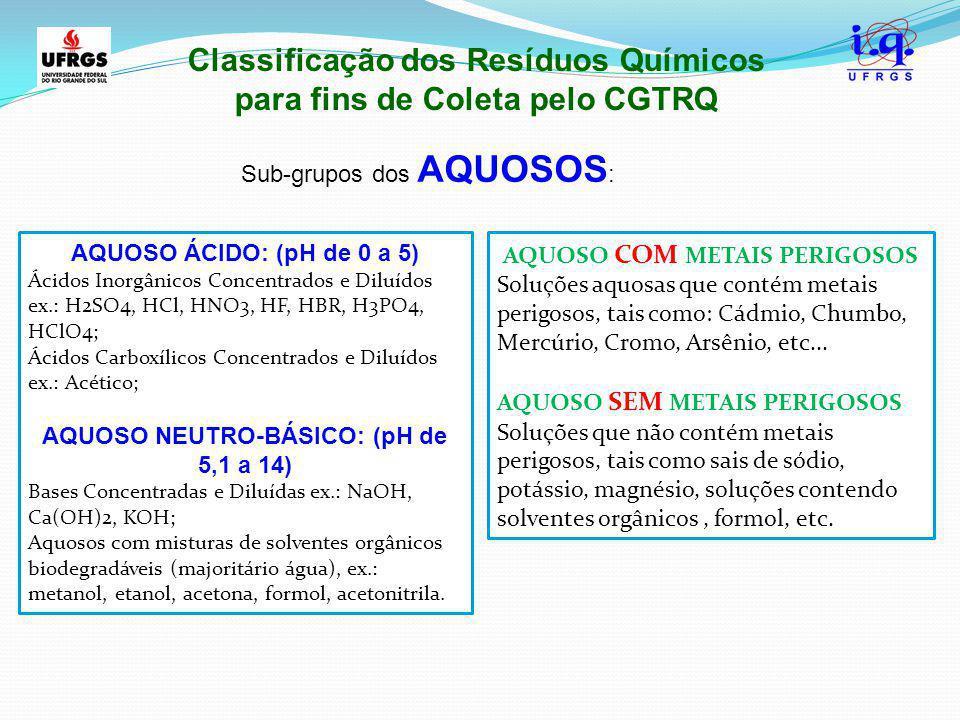 Classificação dos Resíduos Químicos para fins de Coleta pelo CGTRQ Sub-grupos dos AQUOSOS : AQUOSO COM METAIS PERIGOSOS Soluções aquosas que contém me