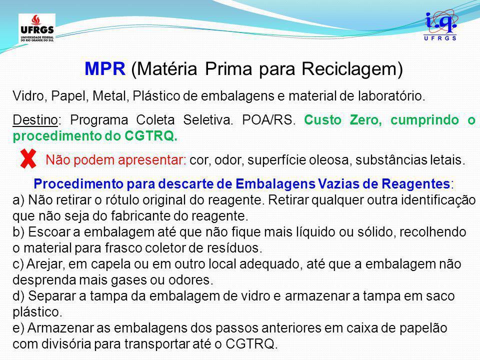 MPR (Matéria Prima para Reciclagem) Vidro, Papel, Metal, Plástico de embalagens e material de laboratório. Destino: Programa Coleta Seletiva. POA/RS.