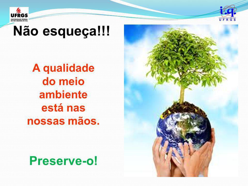 Não esqueça!!! A qualidade do meio ambiente está nas nossas mãos. Preserve-o!