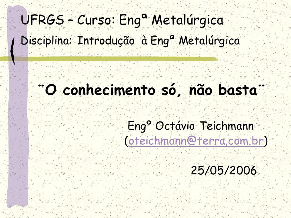 UFRGS – Curso: Engª Metalúrgica Disciplina: Introdução à Engª Metalúrgica ¨O conhecimento só, não basta¨ Engº Octávio Teichmann (oteichmann@terra.com.