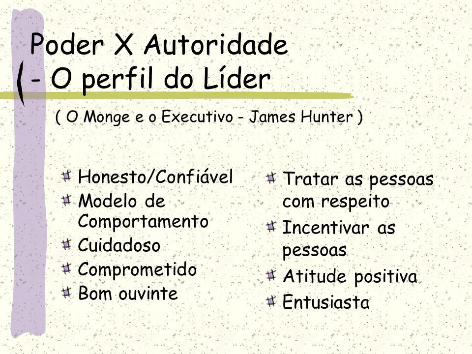 Poder X Autoridade - O perfil do Líder ( O Monge e o Executivo - James Hunter ) Honesto/Confiável Modelo de Comportamento Cuidadoso Comprometido Bom o