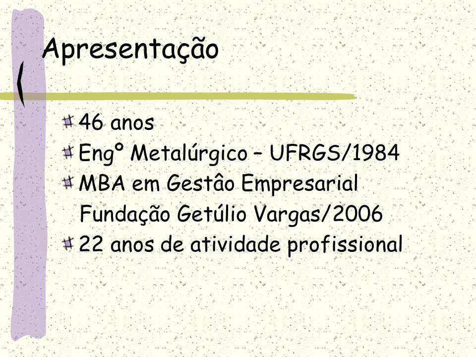 Apresentação 46 anos Engº Metalúrgico – UFRGS/1984 MBA em Gestâo Empresarial Fundação Getúlio Vargas/2006 22 anos de atividade profissional